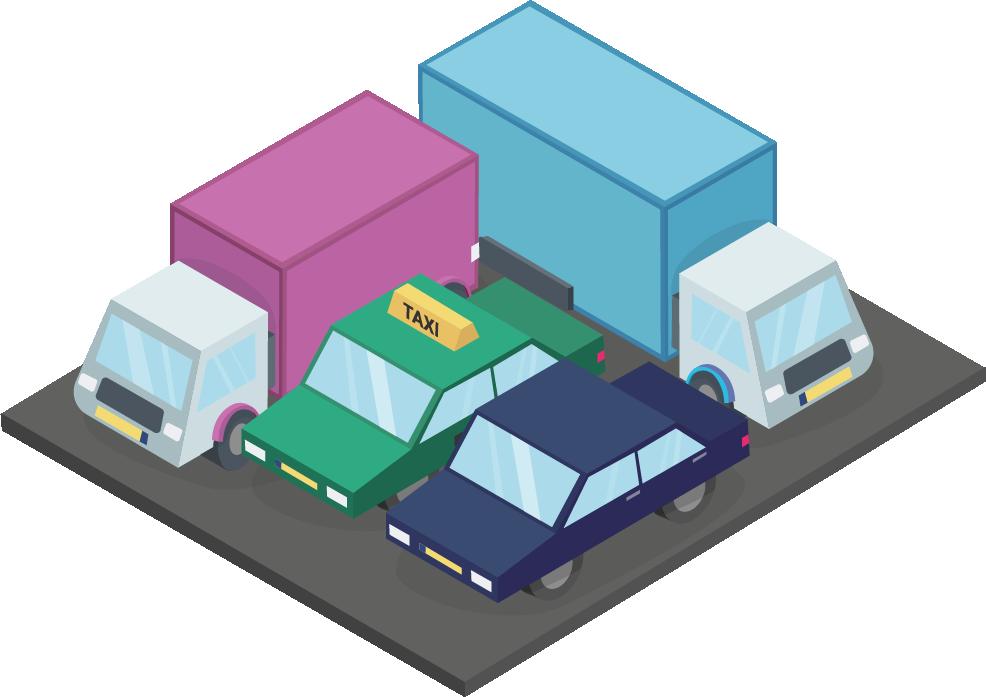 Wagenpark met taxi, auto en vrachtwagen